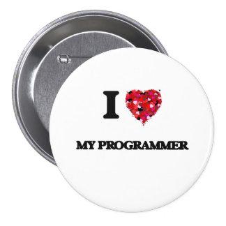 J'aime mon programmeur badge rond 7,6 cm