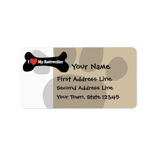 J'aime mon rottweiler - os de chien étiquette d'adresse