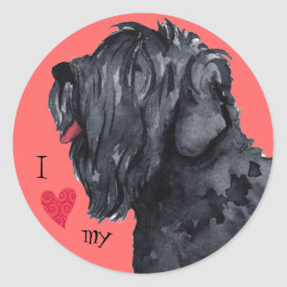 J'aime mon russe noir Terrier Sticker Rond
