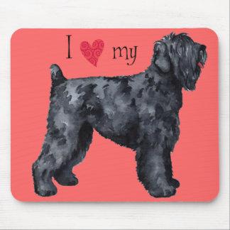 J'aime mon russe noir Terrier Tapis De Souris