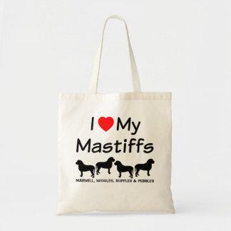 J'aime mon sac de quatre chiens de mastiff