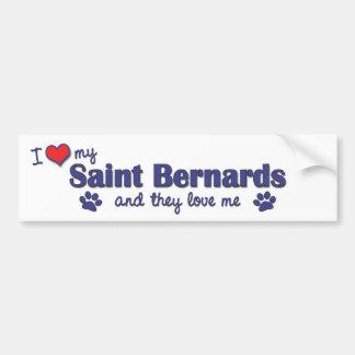 J'aime mon saint Bernards (les chiens multiples) Autocollants Pour Voiture