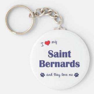 J'aime mon saint Bernards (les chiens multiples) Porte-clé Rond