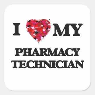 J'aime mon technicien de pharmacie sticker carré