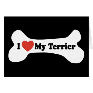 J'aime mon Terrier - os de chien Carte De Vœux