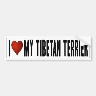 J'aime mon Terrier tibétain Autocollant Pour Voiture