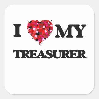 J'aime mon trésorier sticker carré