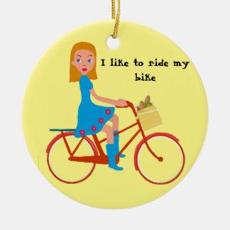 J'aime monter mon vélo ornement rond en céramique