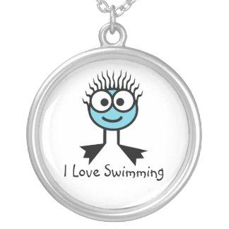 J'aime nager - caractère bleu-clair Necklac de Pendentif Rond