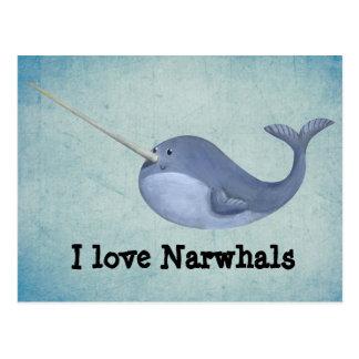 J'aime Narwhals Carte Postale