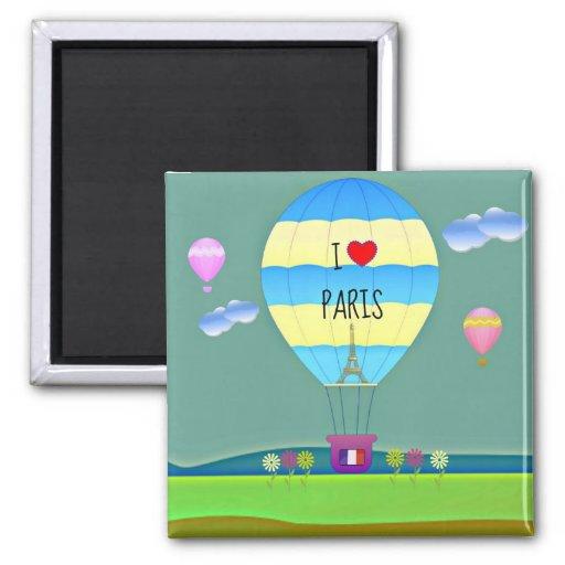 J'aime Paris, ballon à air chaud coloré Aimant
