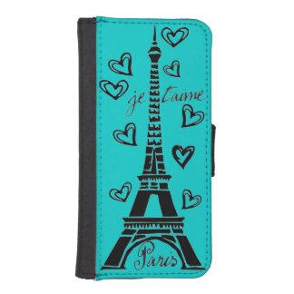 J'aime Paris, Paris Je Taime ! Coque Avec Portefeuille Pour iPhone 5
