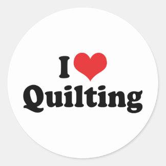 J'aime piquer de coeur - Quilter de couture Sticker Rond