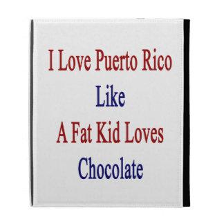 J'aime Porto Rico comme un gros chocolat d'amours Étui iPad Folio