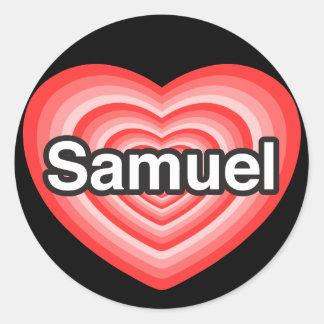 J'aime Samuel. Je t'aime Samuel. Coeur Sticker Rond