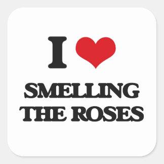J'aime sentir les roses sticker carré