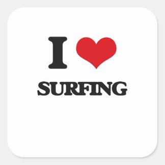 J'aime surfer sticker carré