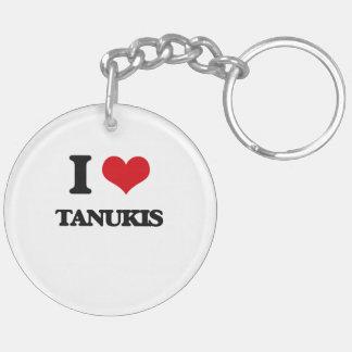 J'aime Tanukis Porte-clé Rond En Acrylique Double Face