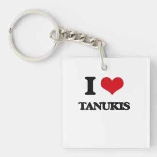 J'aime Tanukis Porte-clé Carré En Acrylique Une Face
