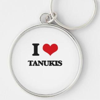 J'aime Tanukis Porte-clé Rond Argenté