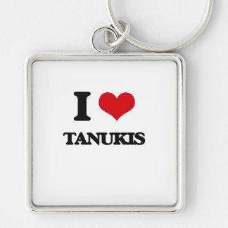 J'aime Tanukis Porte-clé Carré Argenté