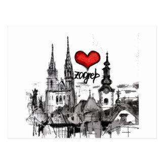 j'aime Zagreb Carte Postale