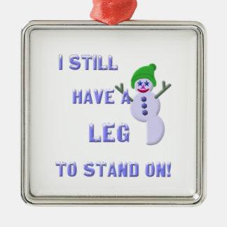 Jambe à tenir dessus, bonhomme de neige 2 ornement carré argenté