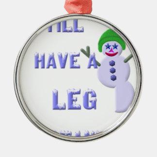 Jambe à tenir dessus, bonhomme de neige 2 ornement rond argenté