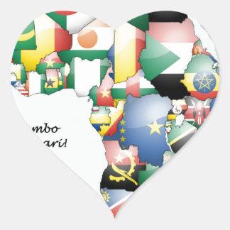 Jambo Habari Afrique ! J'aime l'Afrique Autocollants En Cœur