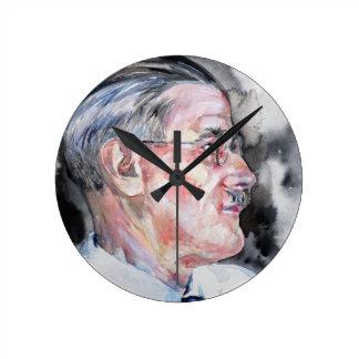 James Joyce - portrait d'aquarelle Horloge Ronde