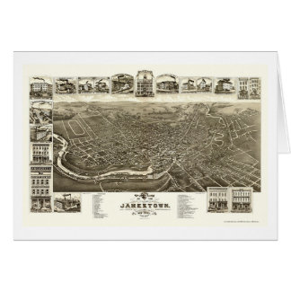 Jamestown, carte panoramique de NY - 1882