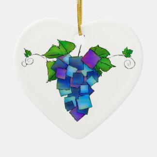 Jamurissa - raisins carrés ornement cœur en céramique