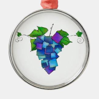 Jamurissa - raisins carrés ornement rond argenté
