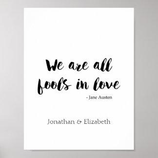 Jane Austen a personnalisé la citation romantique Poster