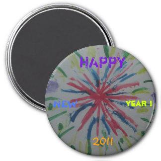 JANVIER 2011 043, HEUREUX, NOUVEAU, ANNÉE ! , 2011 MAGNET ROND 7,50 CM