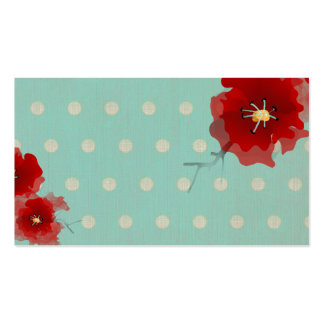 Japan red flower polka dots limited  business card