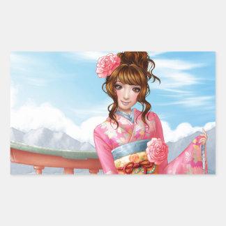 Japanese pink kimono adhésif