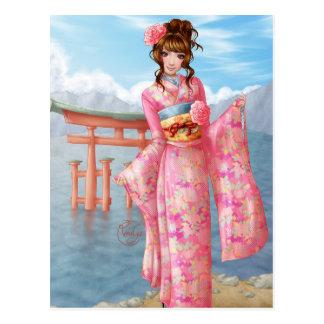 Japanese pink kimono carte postale