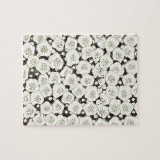Japonais asiatique de fleurs blanches d'impression puzzles