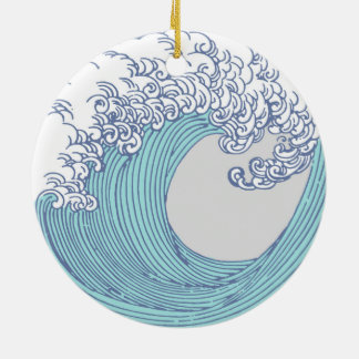 Japonais asiatique d'impression d'art de surf ornement rond en céramique