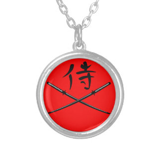 Japonais Katana et kanji samouraï Pendentif Rond