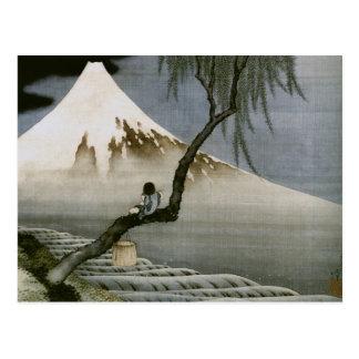 Japonais vintage de garçon et de mont Fuji de Hoku Carte Postale