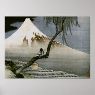 Japonais vintage de garçon et de mont Fuji de Hoku Poster