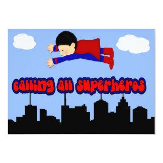 J'appelle la partie de tout le super héros carton d'invitation  12,7 cm x 17,78 cm