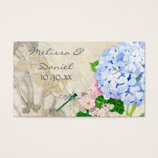 Jardin anglais, aquarelle rose bleue d'hortensias cartes de visite