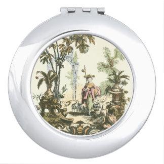 Jardin asiatique avec la femme et les animaux miroirs de voyage