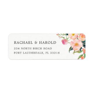 Jardin botanique d'aquarelle moderne floral étiquette d'adresse retour