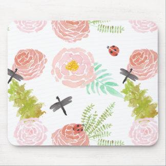 Jardin d'aquarelle de roses de libellules tapis de souris