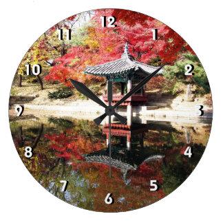Jardin de Japonais d'automne de Séoul Grande Horloge Ronde