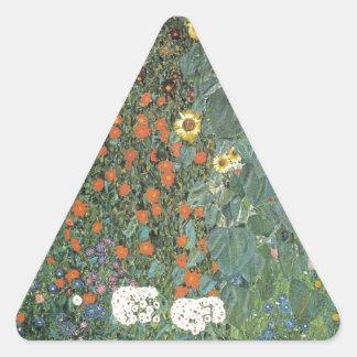 Jardin de pays avec les tournesols 1907 sticker triangulaire